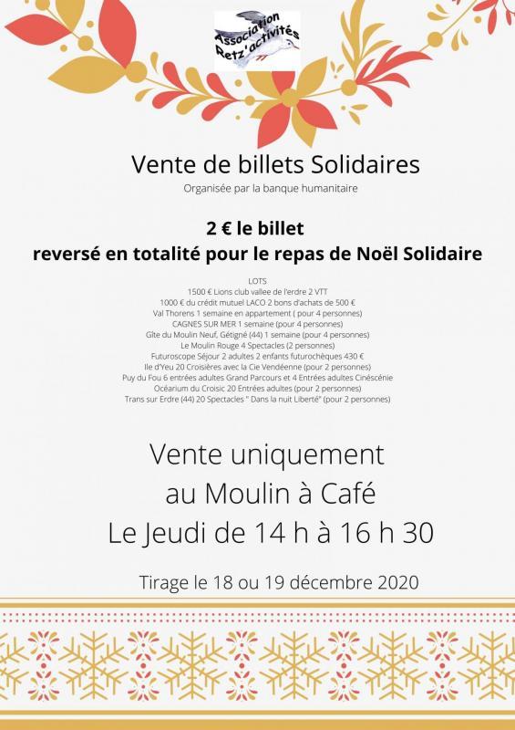 Billets solidaires pour financer le repas de noel solidaire 2020